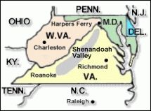 Shenandoah Valley Map Towns and Cities